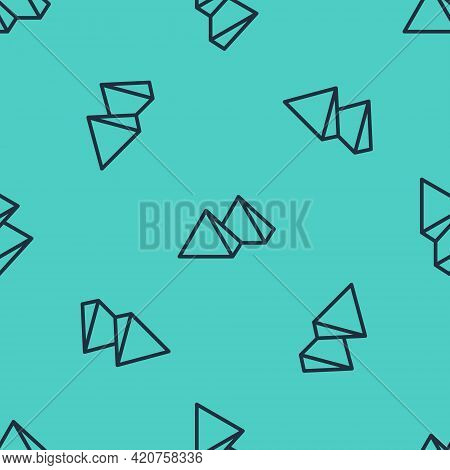 Black Line Egypt Pyramids Icon Isolated Seamless Pattern On Green Background. Symbol Of Ancient Egyp