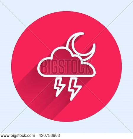 White Line Storm Icon Isolated With Long Shadow. Cloud With Lightning And Moon Sign. Weather Icon Of