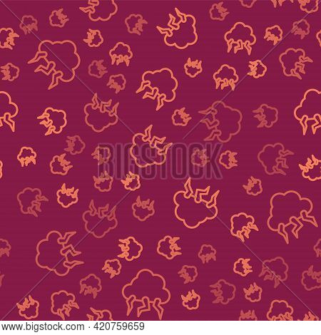 Brown Line Storm Icon Isolated Seamless Pattern On Red Background. Cloud And Lightning Sign. Weather
