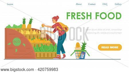 Fresh Food Shop Website Template With Woman Shopper, Flat Vector Illustration.