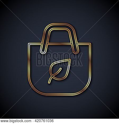 Gold Line Paper Shopping Bag With Recycle Icon Isolated On Black Background. Bag With Recycling Symb