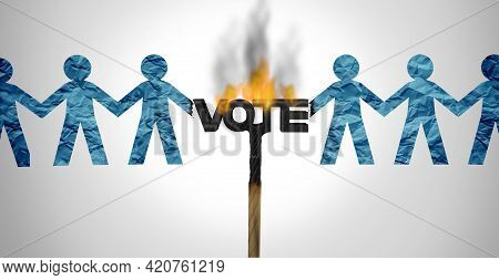 Political Divide And Voter Division In An Election Vote With Society Split Apart By Ideology Of Poli