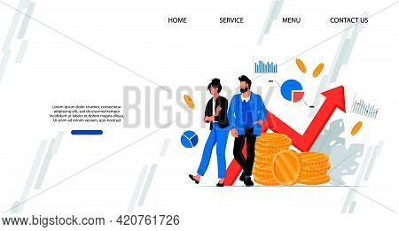 Profitable Business Investment And Strategy Aimed At Money Saving Website. Financial Advisors And Co