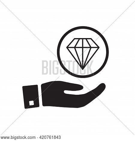 Diamond Line Icon, Outline Vector Sign, Linear Style Pictogram Isolated On White. Advertising, Prese