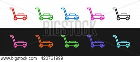 Set Line Lawn Mower Icon Isolated On Black And White Background. Lawn Mower Cutting Grass. Vector