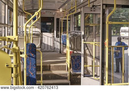 Yekaterinburg, Russia - May 15, 2021: Tram Without Passengers At A Stop With Open Doors On A Sunny S