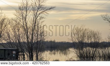 Flooded Trees During A Period Of High Water. Trees In Water. Landscape With Spring Flooding Of Pripy