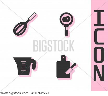 Set Cutting Board And Knife, Kitchen Whisk, Measuring Cup And Fried Eggs On Frying Pan Icon. Vector