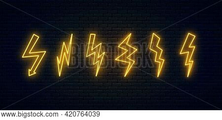 Neon Lightning Thunderbolt Set. Six High-voltage Neon Symbols. Thunder And Electricity Sign