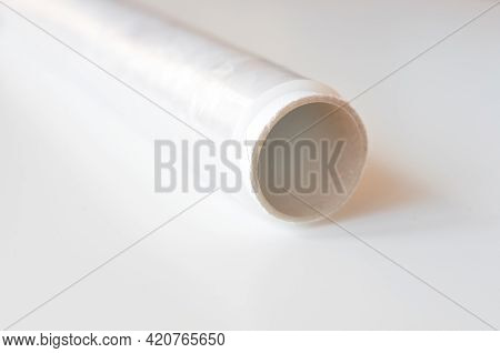Plastic Thin And Clear Wrap On White Background