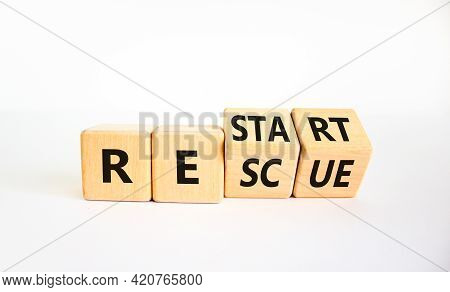Restart And Rescue Symbol. Turned Cubes And Changed The Word 'restart' To 'rescue'. Beautiful White
