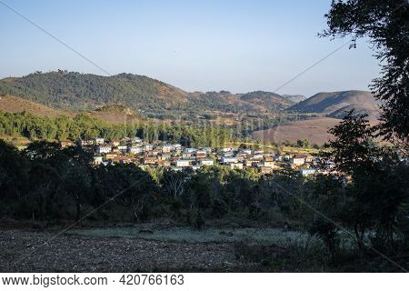 A Small Farm Village In A Valley Between Kalaw And Inle Lake, Shan State In The Evening Sunlight In