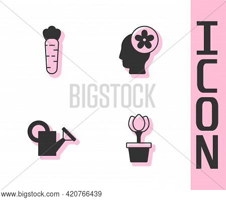 Set Flower Tulip In Pot, Carrot, Watering Can And Human Head With Flower Inside Icon. Vector