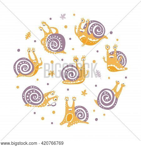 Cute Snail Character As Gastropod With Purple Coiled Shell In Circle Vector Arrangement
