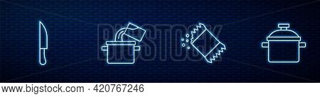 Set Line Packet Of Pepper, Knife, Cooking Pot And . Glowing Neon Icon On Brick Wall. Vector