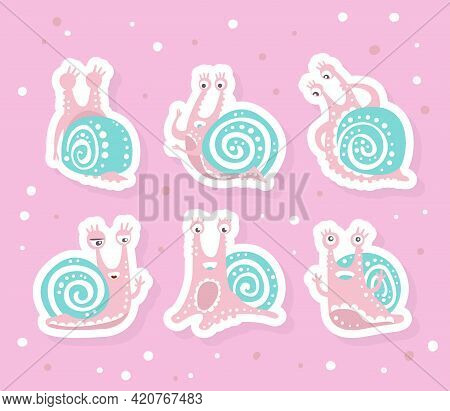 Cute Snail Character As Gastropod With Coiled Shell Vector Sticker Set