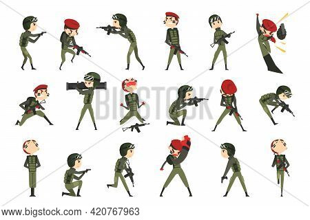 Army Soldiers In Action Set, Army Man Character In Green Uniform And Cap In Various Poses And Face E
