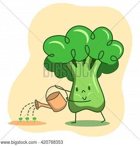 Broccoli Character Watering Young Sprouts From A Watering Can. A Cute Green Vegetable Broccoli Farme
