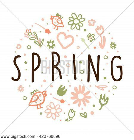 Tender Spring Hand Drawn Flowers In Circle Vector Arrangement