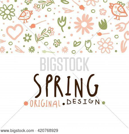 Tender Spring Hand Drawn Flowers In Vector Card Template