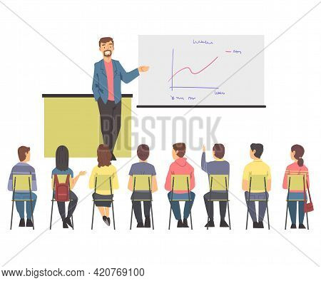 Training With People Characters Sitting In Row Listening To Man Instructor Showing Graph On Flipchar