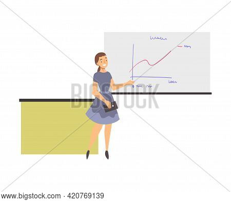Training With Woman Instructor Showing Graph On White Flipchart Vector Illustration