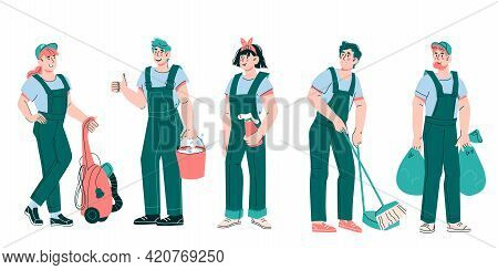 Cleaning Company Staff Cartoon Characters - Women And Men In Green Uniform Overalls With Cleaning To