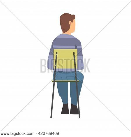 Young Man Sitting On Chair Having Training Course Listening To Lecturer Back View Vector Illustratio
