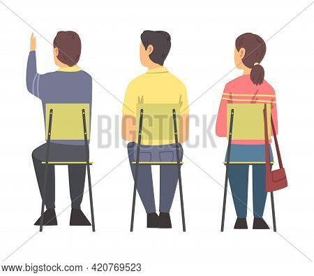 Young Man And Woman Sitting On Chair Having Training Course Listening To Lecturer Back View Vector I