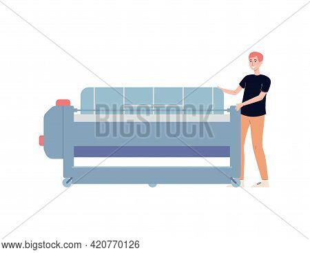Winemaking Plant Employee Working On Press, Flat Vector Illustration Isolated.
