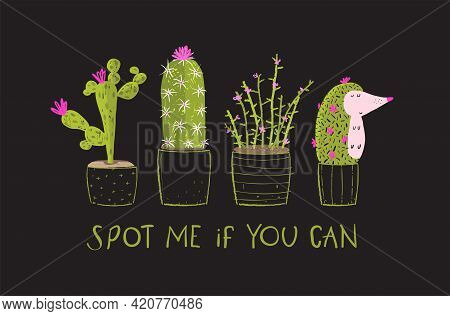 Funny Cactus T Shirt Print In Watercolor Hand Drawn Style, Humorous Trendy Print With Cactus And Ani