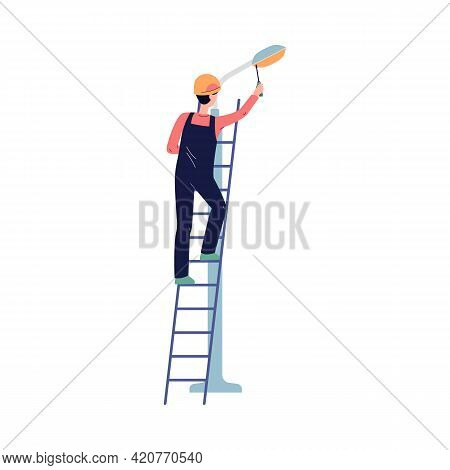 Electrician Worker Perform Electric Work - Street Lamp Maintenance Service.