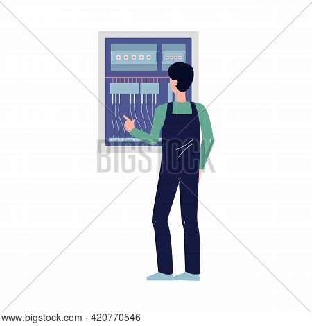 Electrician Worker In Front Of Switchboard, Flat Vector Illustration Isolated.
