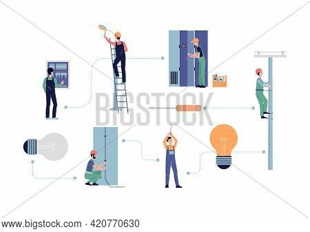 Set Of Electricians Cartoon Characters Flat Vector Illustration Isolated.