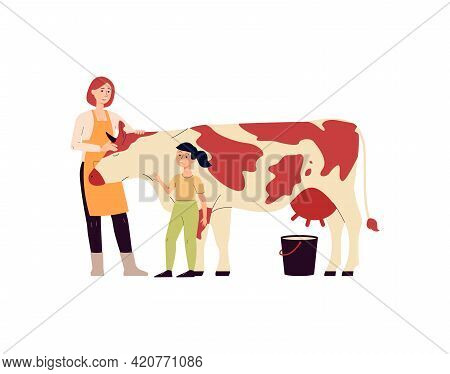 Farm Family Taking Care Of Cow, Livestock That Give Milk A Vector Illustration