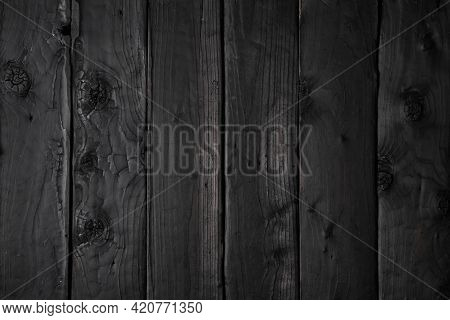 Wooden Background From Burnt Boards. Boards Burnt According To Japanese Firing Technology.