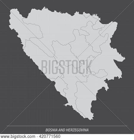 Bosnia And Herzegovina Administrative Map Isolated On Dark Background