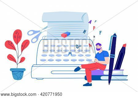 Copywriting And Content Creation. Blogging, Marketing And Publishing In Social Media. Man Blogger Or