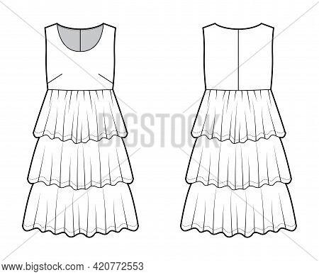 Dress Babydoll Technical Fashion Illustration With Sleeveless, Oversized Body, Knee Length Ruffle Ti