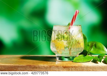 Glass Of Citrus Detox Water Or Mojito On Natural Summer Background. Refreshing Detox Water With Lime