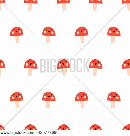 Toadstools Smiling Seamless Vector Kids Pattern Repeat. Cute Repeating Background Mushroom Fungi Wit