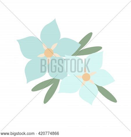 Simple Pastel-colored Flower In Flat Style Vector Illustration, Symbol Of Spring, Cozy Home, Spring