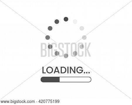 Loading Bar Icon On White Backdrop. Load Circle And Line. Progress Visualization. Download Concept.