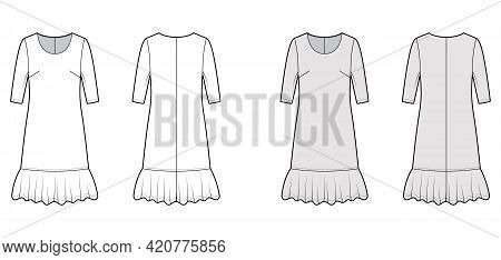 Dress Dropped Waist Technical Fashion Illustration With Elbow Sleeves, Oversized Body, Knee Length S