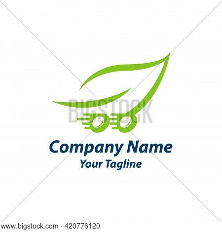 Leaf Logo Design Template. Dynamic Vector Unusual Delivery Icon.eps 10