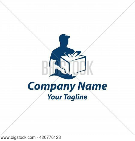 Delivery Man Courier Holding Box Logo Design Vector Template Navy Blue Color.eps 10
