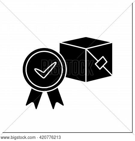 Approved Product Glyph Icon. Governmental Authority Approving Necessary For Marketing And Product Sa