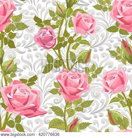 Pattern With Roses On An Openwork Background.vector Pattern With Delicate Roses On An Abstract Backg