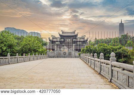 Temple Tower Of Bai Dinh Pagoda In Ninh Binh, Vietnam