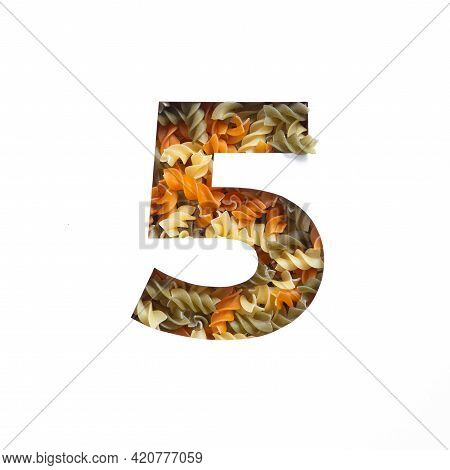 Number Five Made Of Italian Food Fusilli Pasta, White Cut Paper In Shape Of Fifth Numeral. Typeface